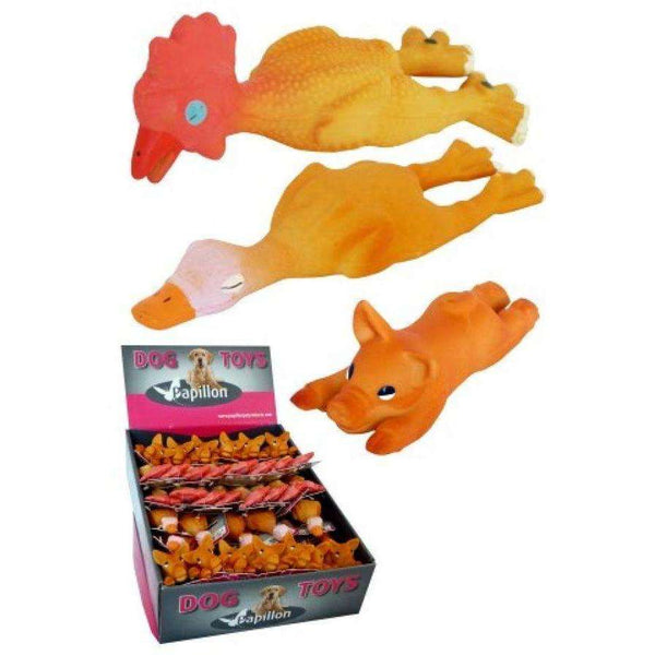 Papillon Latex Chicken, Duck, Pig Mini For Dogs 14cm