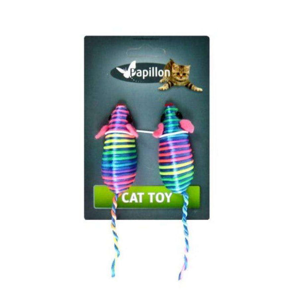 Papillon Cat toy 2 coloured mice on card