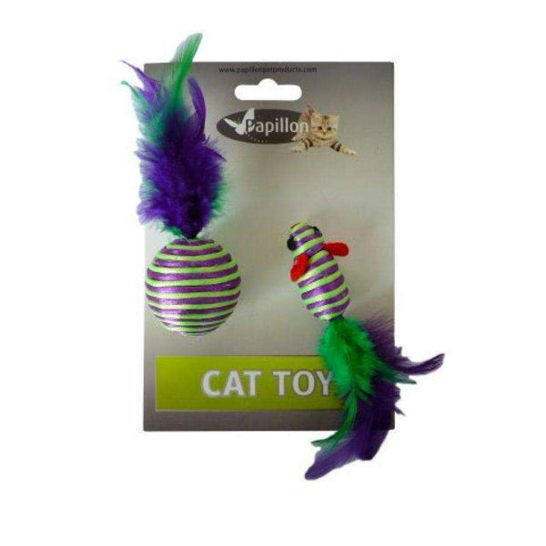 Papillon Cat toy mouse and ball with feather on card