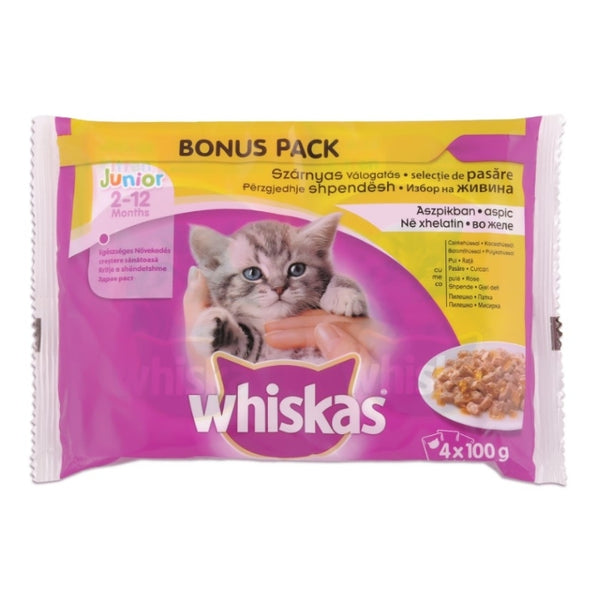 Whiskas Junior Pouch - 4x100g Poultry