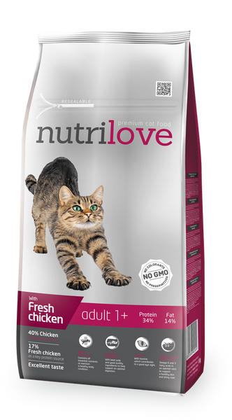 Nutrilove Adult Cat Chicken - Dry 8+1,5kg
