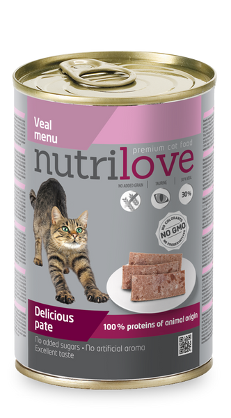 Nutrilove Adult Cat Veal - Pate 400gr