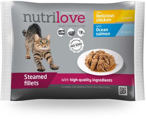 Nutrilove Adult Cat - Pouch 2x Salmon + 2x Chicken 4x85gr