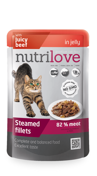 Nutrilove Adult Cat Beef in jelly - Pouch 85gr