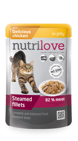 Nutrilove Adult Cat Chicken in jelly - Pouch 85gr