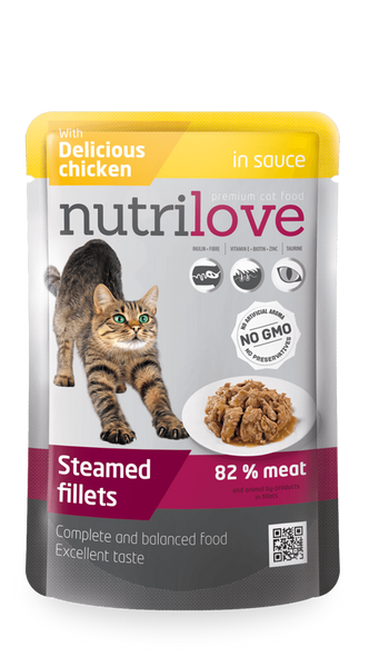 Nutrilove Adult Cat Chicken in sauce - Pouch 85gr