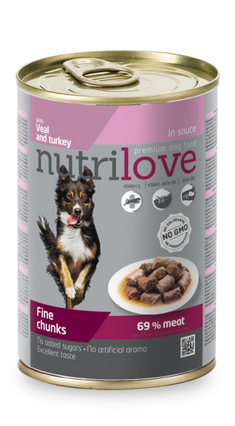 Nutrilove Adult Dog Veal and Turkey - Can 415gr