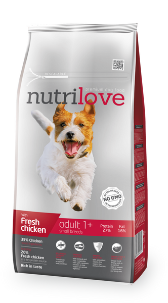 Nutrilove Adult Small Dog Chicken - Dry 8kg+1,6kg