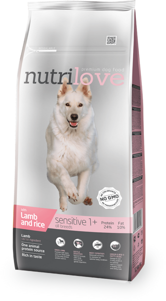 Nutrilove Sensitive Dog Lamb and Rice - Dry 12kg
