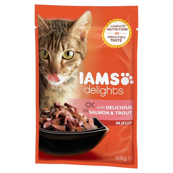 Iams Cat Delights Adult Delicious Salmon & Trout in Jelly 85gr
