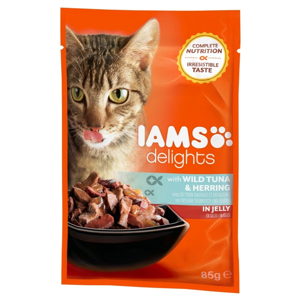Iams Cat Delights Adult Wild Tuna & Herring in Jelly 85gr