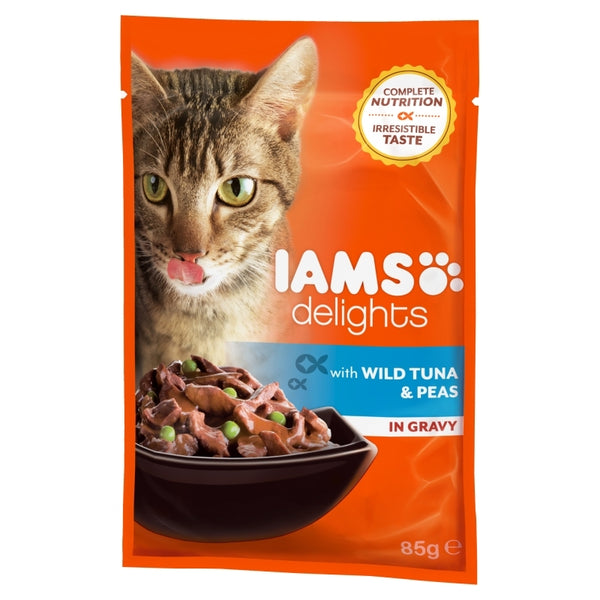 Iams Delights With Wild Tuna And Peas In Gravy - 85g