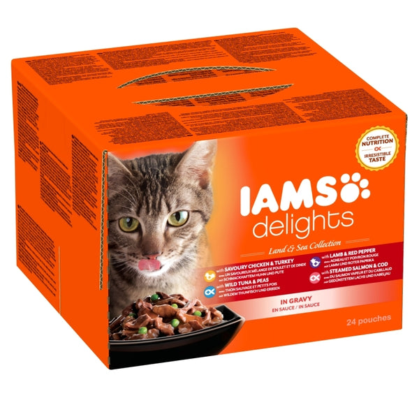 Iams Cat Delights Adult Land & Sea Multipack in Gravy 24x85gr