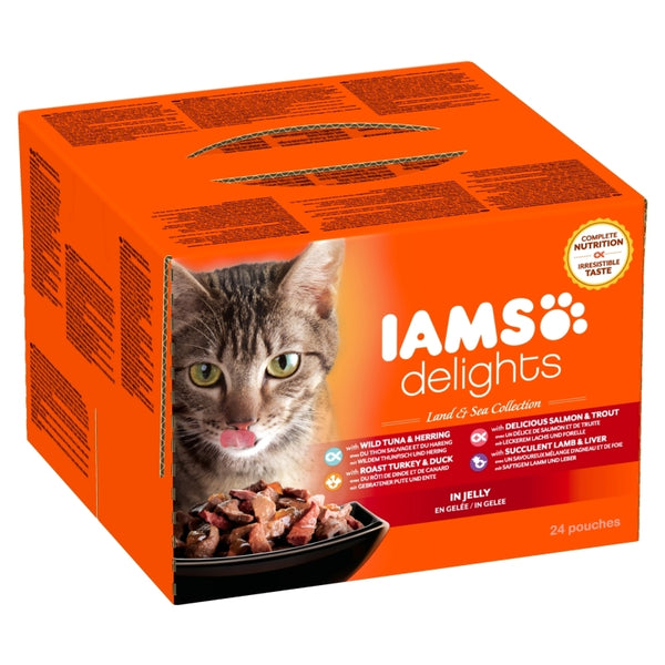 Iams Cat Delights Adult Land & Sea Multipack in Jelly 24x85gr