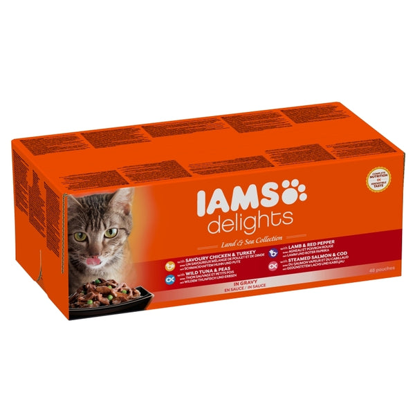 Iams Cat Delights Adult Land & Sea Multipack in Gravy 48x85gr