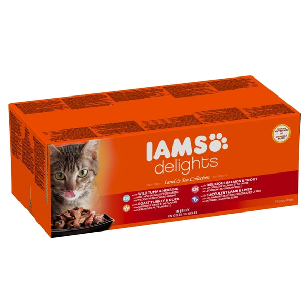 Iams Cat Delights Adult Land & Sea Multipack in Jelly 48x85gr