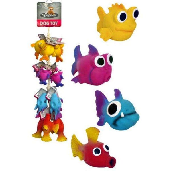 Papillon Latex Big Eye Fish For Dogs 10/14cm