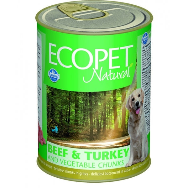 Ecopet Natural Beef and Turkey Vegetable Chunks - Can 405gr