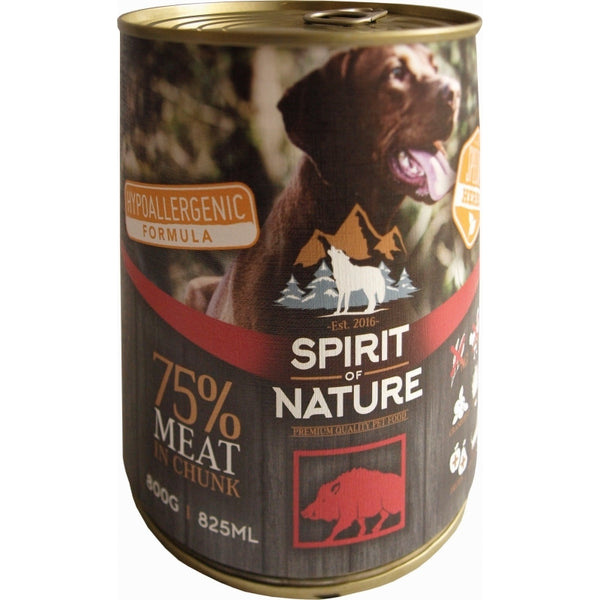 Spirit Of Nature Hypoallergenic Wet Food For Adult Dogs With Boar - 800g