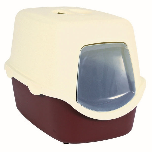 Trixie Vico Cat Litter Tray 40×40×56cm Bordeaux/Cream