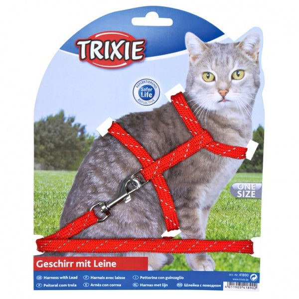 Trixie Cat Harness With Lead Reflecting Nylon 18-35cm/10mm, 1.3m