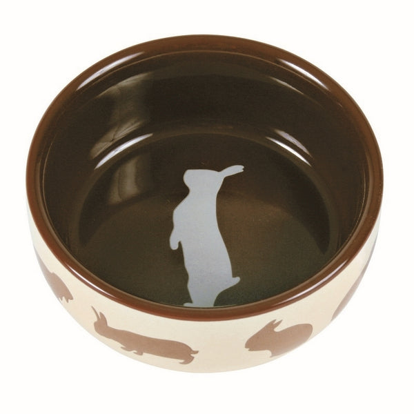 Trixie Ceramic Bowl With Motif Rabbit For Rabbits - 11cm