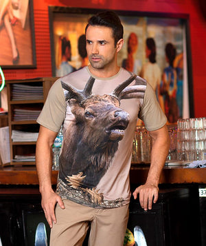 Man wearing t-shirt with Bugling Elk on it