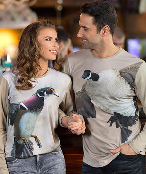 Man wearing t-shirt with Canada Goose Landing on it