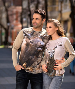 Couple wearing Whitetail Deer Shirt Jumping Scene