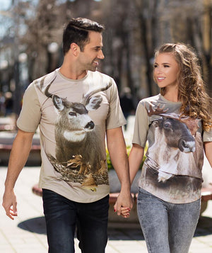 Couple wearing t-shirt with Mule Deer on it