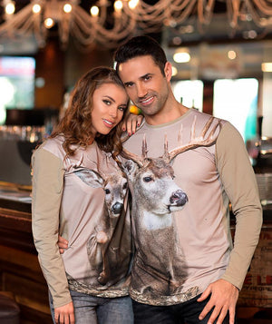 Man wearing t-shirt with Whitetail Deer on it