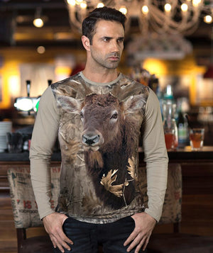 Man wearing shirt with Rocky Mountain Elk on it