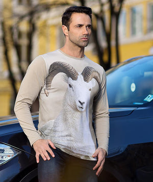 Man with Dall sheep shirt