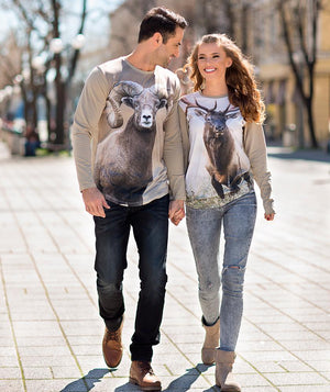 Couple wearing Roosevelt Elk shirt