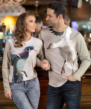 Couple wearing Snow Goose T-shirt