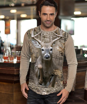 Man with Whitetail Deer T-shirt Jumping in Camo