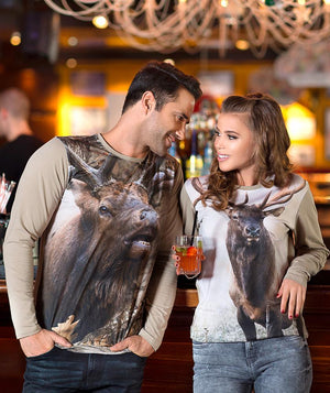 Woman wearing shirt with Roosevelt Elk on it
