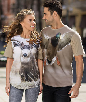 Man wearing shirt with Mallard Landing on it