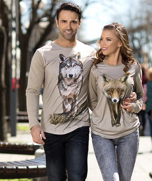 Couple walking with Wolf Shirt