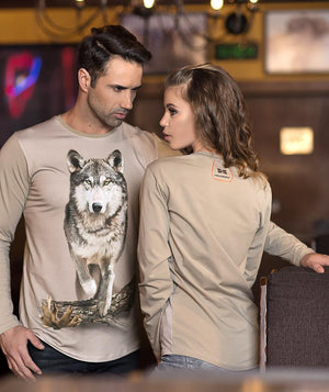 Man wearing shirt with Wolf on it