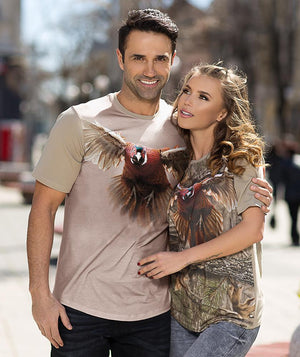 Man wearing t-shirt with pheasant on it