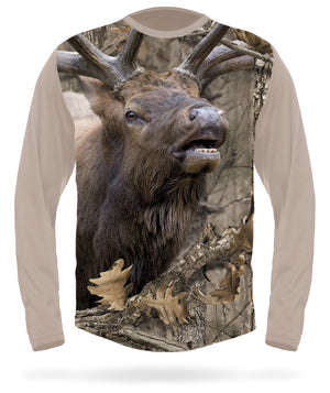 Bugling Elk T-shirt Long Sleeve Camo - HILLMAN® hunting gear