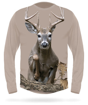 Whitetail Deer T-shirt Jumping Long Sleeve - HILLMAN® hunting gear