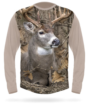Whitetail Deer T-shirt Long Sleeve Camo by HILLMAN®