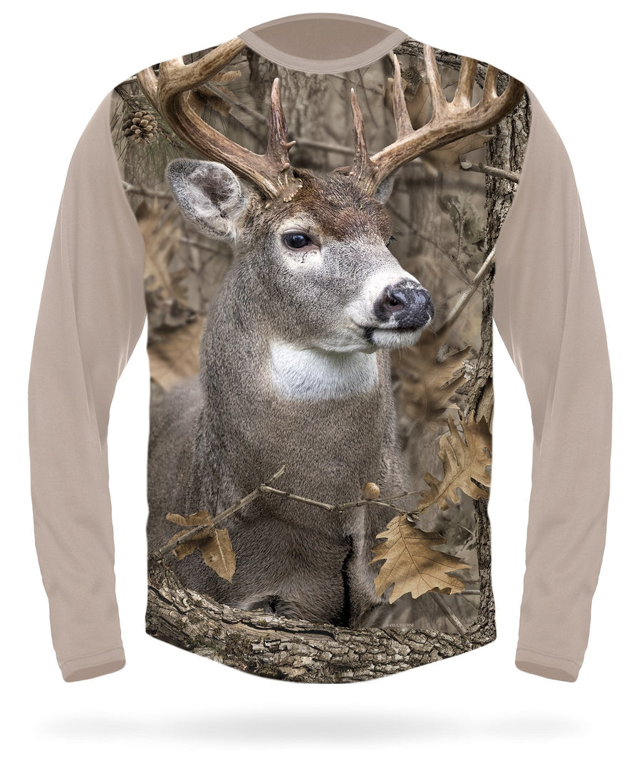Hillman - Whitetail deer 3D camo long sleeve t-shirt