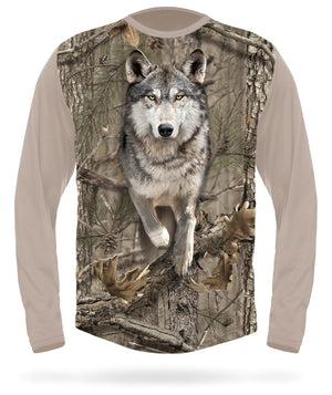 Wolf T-shirt Long Sleeve Camo by HILLMAN®