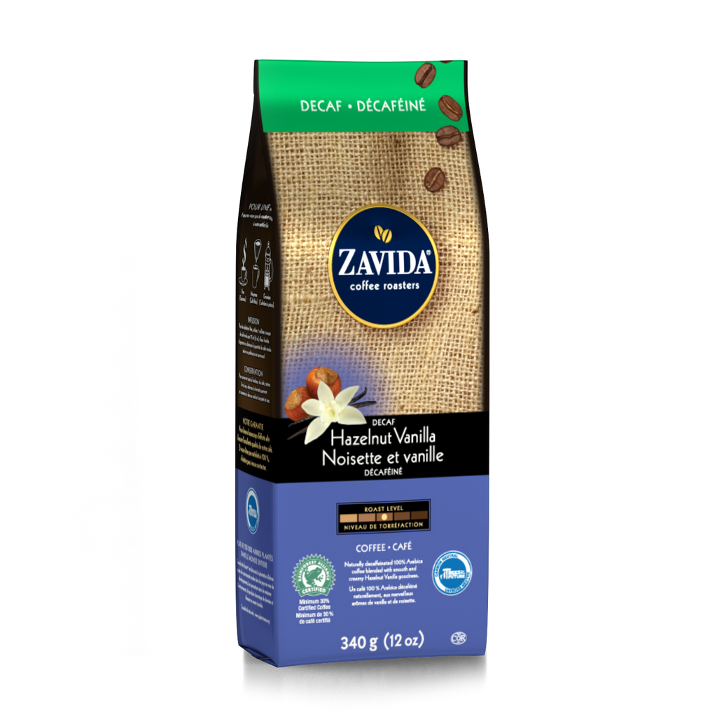 Zavida 12oz Hazelnut Vanilla Decaf Whole Beans