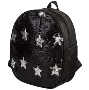 Sequin Star Backpack Bag - Black