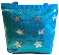 Sequin Star Tote Bag - Turquoise