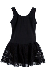 Lace Tank Leotard Dance Dress - Black
